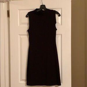 Bodycon black mockneck dress